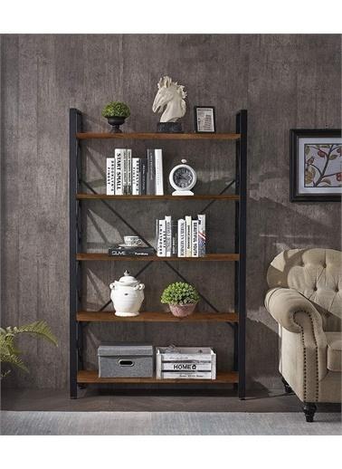Enmax Metal Kitaplık 5 Raflı Kitaplık Dosya Kitap Ofis Ev Rafı Ceviz Kahve